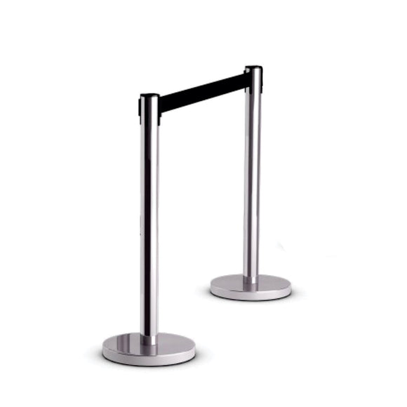 Retractable Queue Barrier Chrome With Black Belt 910x 320mm Box Of 2