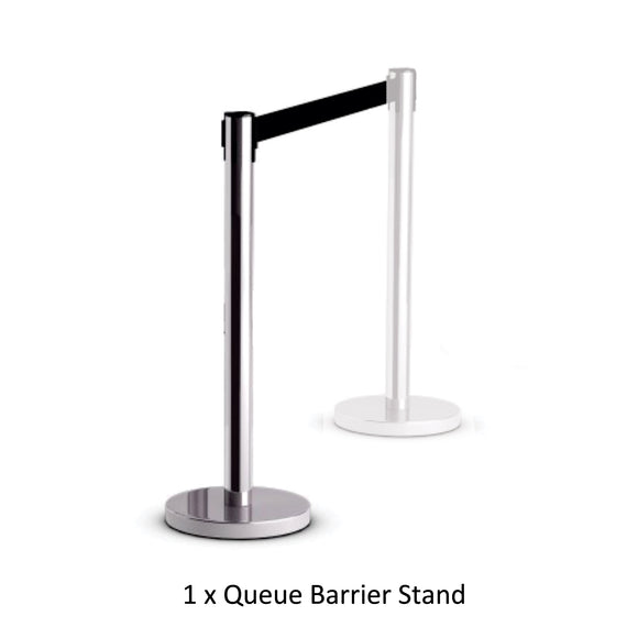 Retractable Queue Barrier Chrome With Black Belt 910x 320mm