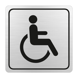Sign Symbolic 150 150mm Black Printed Disabled Toilet Sign On Brushed Aluminum Acp