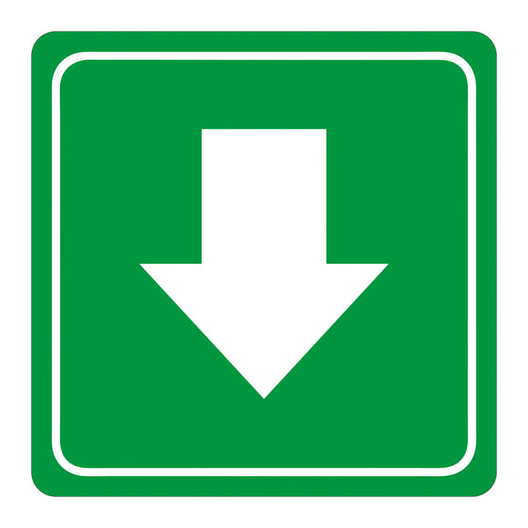 Sign Symbolic 150 150mm Green Arrow Sign On White Acp