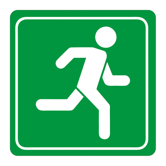 Sign Symbolic 150 150mm Green Running Man Sign On White Acp