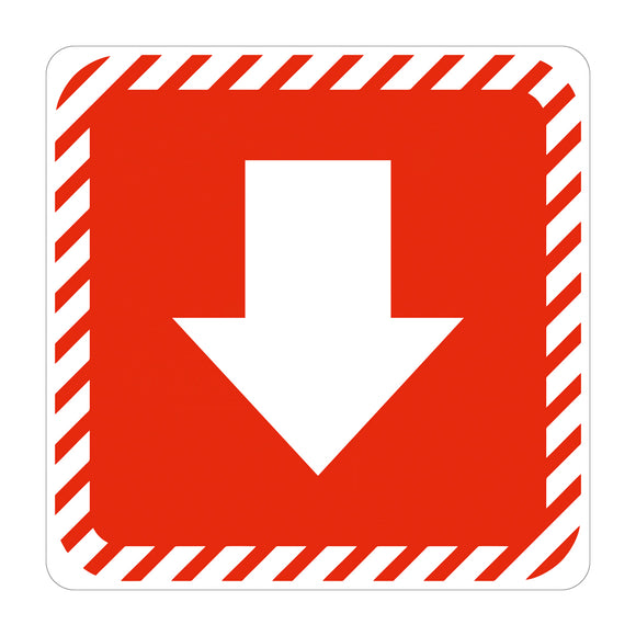 Sign Symbolic 150 150mm Red Arrow On White Acp