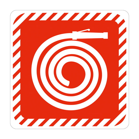 Sign Symbolic 150 150mm Red Fire Hose Reel On White Acp