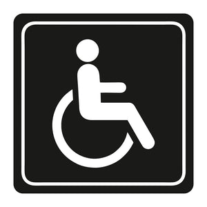 Sign Symbolic 150 150mm White Printed Disabled Toilet Sign On Black Acp