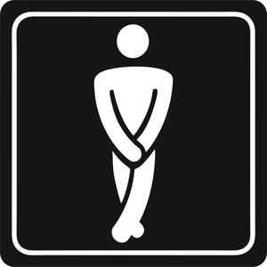 Sign Symbolic 150 150mm White Printed Gents Toilet Sign On Black Acp