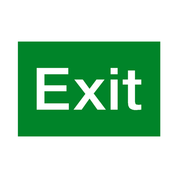 Symbolic Sign 150 300mm Exit Green On White Acp