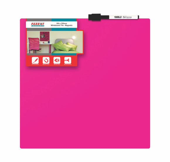 Whiteboard Tile Magnetic 355x 355mm Pink