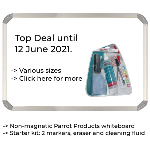 Non-magnetic Whiteboard 1500x1200mm + FREE Starter Pack