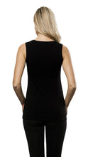 Bamboo V Neck Sleeveless Top - Black