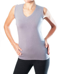 WOMEN BAMBOO SLEEVELESS TOP GRAY