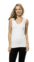 Bamboo V Neck Sleeveless Top - IVORY