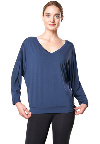 Bamboo Dolman Top - Navy