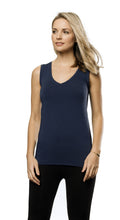 Bamboo V Neck Sleeveless Top - Navy