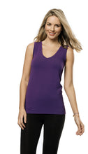 Bamboo V Neck Sleeveless Top - PURPLE