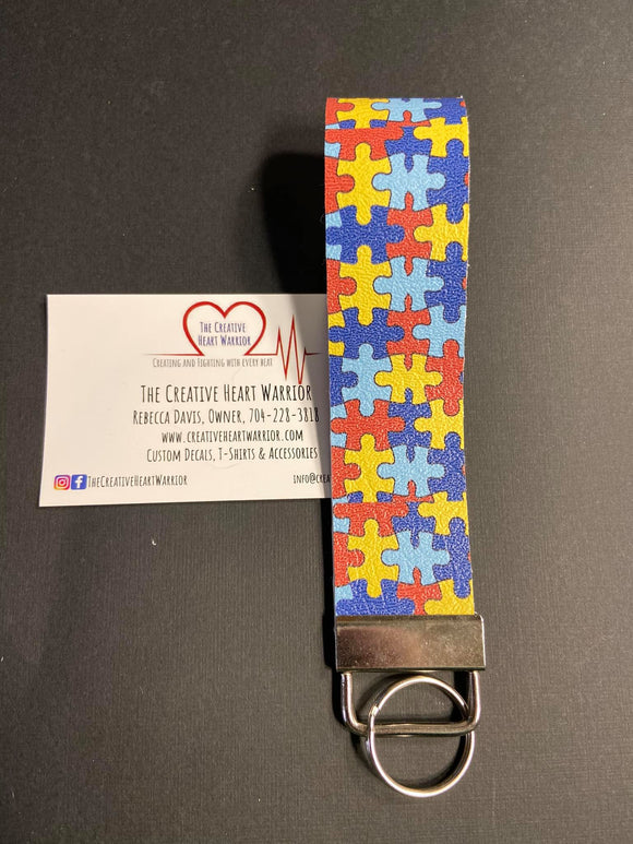 Autism Awareness Faux Leather Key Fob Wristlet - The Creative Heart Warrior