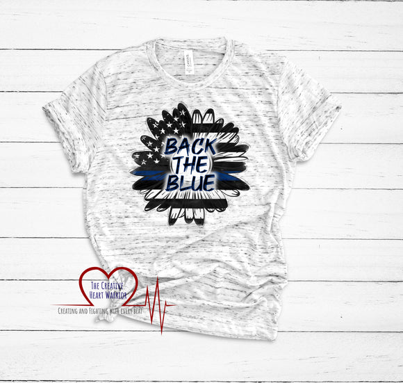 Back the Blue T-Shirt, Thin Blue Line Sunflower T-Shirt - The Creative Heart Warrior
