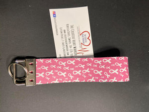 Breast Cancer Awareness Ribbon Faux Leather Key Fob Wristlet - The Creative Heart Warrior