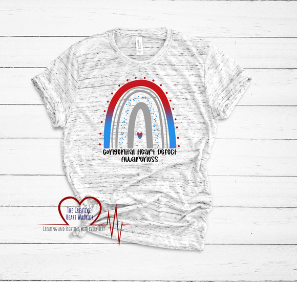 Congenital Heart Defects Awareness Rainbow T-Shirt, CHD Awareness T-Shirt, Heart Warrior T-Shirt - The Creative Heart Warrior