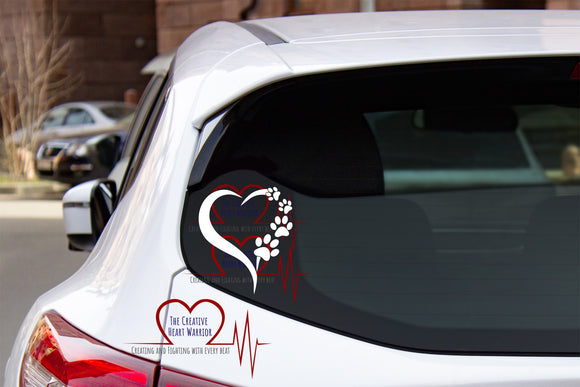 Dog and Cat Paw Print Heart Vinyl Decal - The Creative Heart Warrior