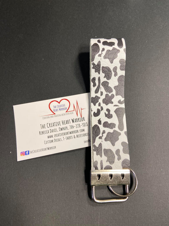 Cow Print Faux Leather Key Fob Wristlet - The Creative Heart Warrior
