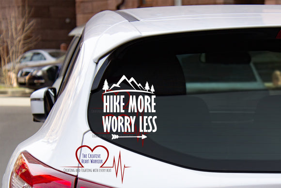 Hike More Worry Less Vinyl Decal, Hiking Vinyl Decal - The Creative Heart Warrior