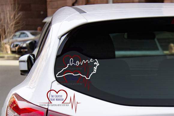 North Carolina Home Vinyl Decal, NC Vinyl Decal - The Creative Heart Warrior