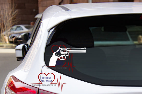 Revolver Vinyl Decal, Gun Vinyl Decal - The Creative Heart Warrior