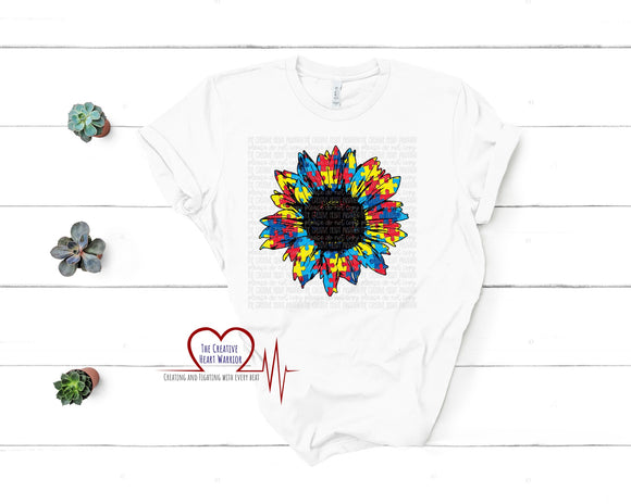 Autism Sunflower Awareness Adult T-Shirt