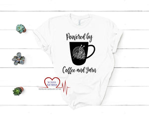 Powered by Coffee and Knitting T-Shirt - The Creative Heart Warrior