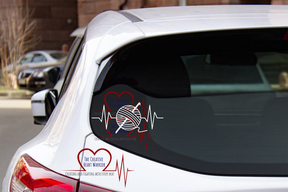 Crochet Heartbeat Decal - The Creative Heart Warrior