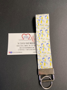 Down Syndrome Awareness Ribbon Faux Leather Key Fob Wristlet - The Creative Heart Warrior