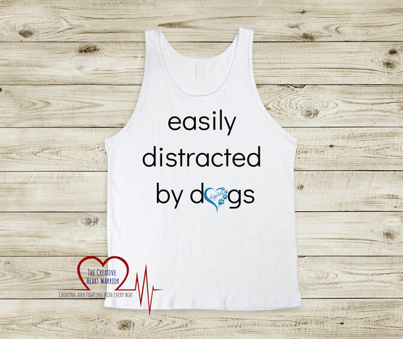 Easily Distracted by Dogs Ladies Racer Back Tank ALYPETSIT - The Creative Heart Warrior
