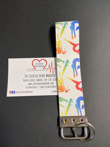 Gymnastics Faux Leather Key Fob Wristlet - The Creative Heart Warrior