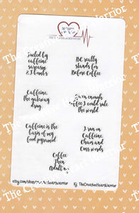 Coffee & Caffeine Quote Planner Stickers - The Creative Heart Warrior