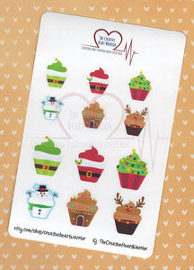 Christmas Cupcake Planner Stickers - The Creative Heart Warrior