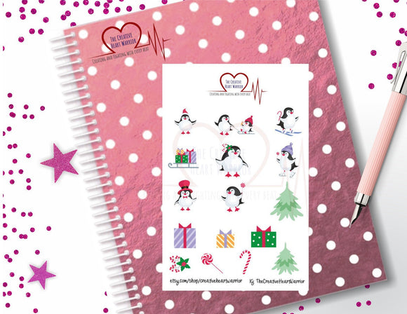 Winter Penguins Planner Stickers, Christmas Penguins Planner Stickers - The Creative Heart Warrior