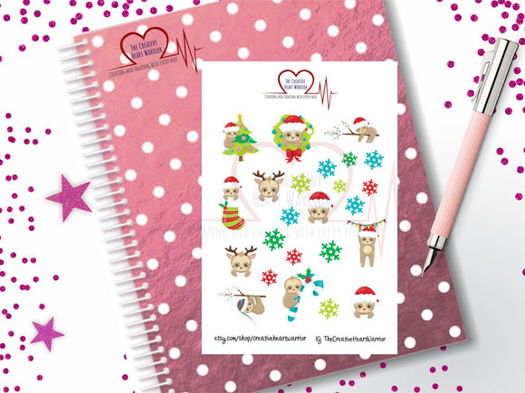 Winter Sloth Planner Stickers, Christmas Sloth Planner Stickers - The Creative Heart Warrior