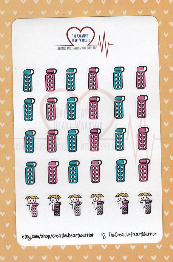Hydration Tracker Planner Stickers - The Creative Heart Warrior