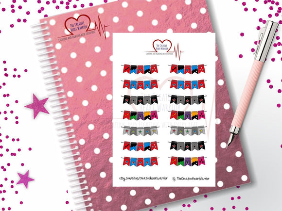 Superhero Banner Planner Stickers, Superhero Flag Planner Stickers - The Creative Heart Warrior