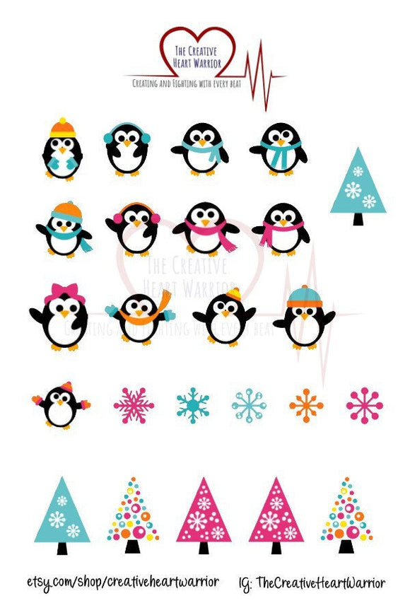 Christmas Penguin Planner Stickers, Winter Penguin Planner Stickers - The Creative Heart Warrior