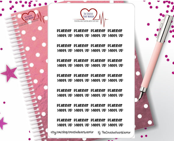 Planner Meet Up Stickers, Planner Meet Up Reminder, Planner Stickers - The Creative Heart Warrior