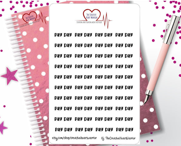 Pay Day Planner Stickers, Functional Pay Day Stickers - The Creative Heart Warrior