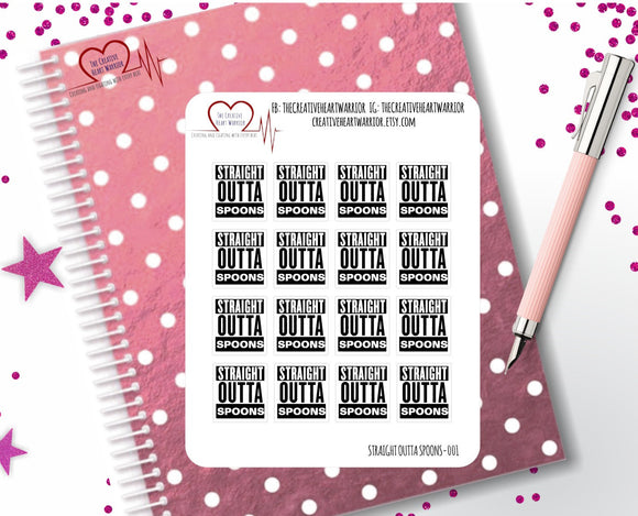 Straight Outta Spoons Planner Stickers - The Creative Heart Warrior
