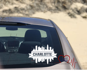 Charlotte Skyline Vinyl Decal, Charlotte Skyline Decal, Charlotte Decal - The Creative Heart Warrior