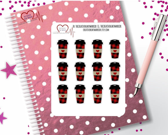 Buffalo Plaid Cup Planner Stickers, Buffalo Plaid Coffee Planner Stickers - The Creative Heart Warrior
