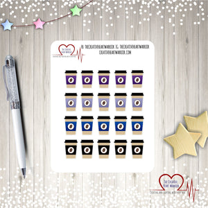 Dark Rainbow Coffee Cup Planner Stickers, Coffee Planner Stickers - The Creative Heart Warrior