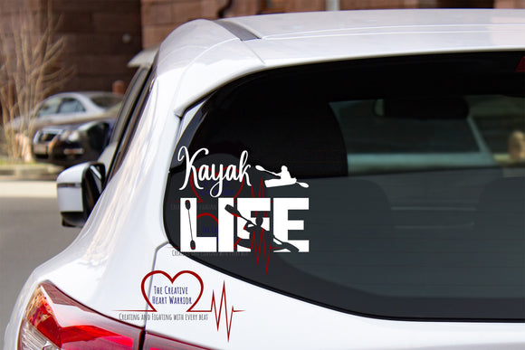 Kayak Life Vinyl Decal - The Creative Heart Warrior