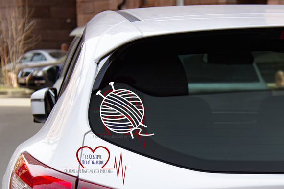 Knitting Decal - The Creative Heart Warrior