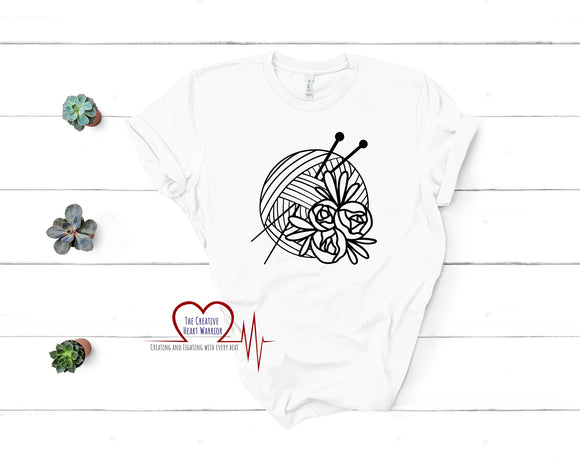 Knitting Floral T-Shirt - The Creative Heart Warrior