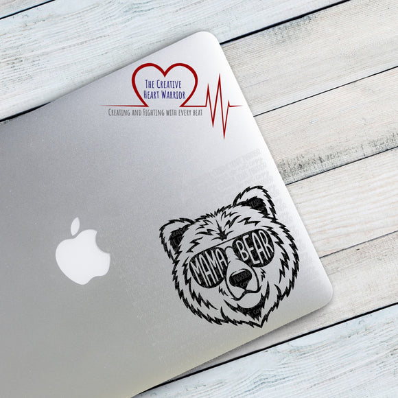 Mama Bear Face or Papa Bear Face Vinyl Decal